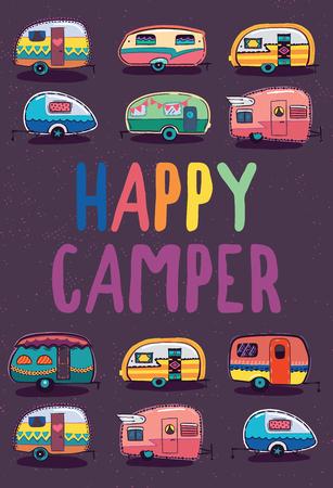 幸せなキャンピングカー トレーラー バナー 写真素材 - 74801155