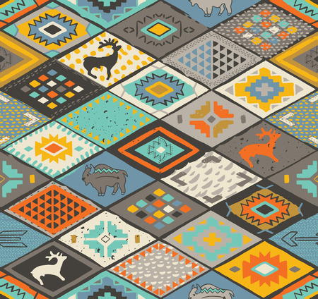 Southwestern seamless pattern with deers, buffalo and triangles