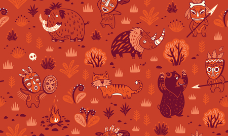 Stone Age vector pattern in red colors Illustration