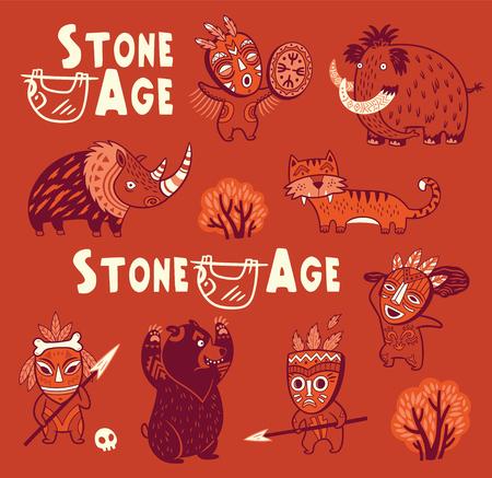 Grappige vector set van prehistorische dieren en mensen in maskers Stock Illustratie