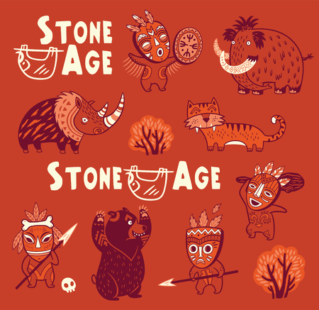 Funny vector set of prehistoric animals and people in masks Illustration
