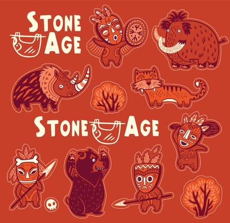 Vectorstickerreeks voorhistorische dieren en mensen in maskers Stock Illustratie