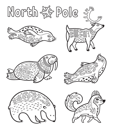Outline Arctic animals set for coloring page Illustration