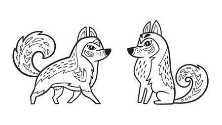 Outline Siberian Husky dog Ilustrace