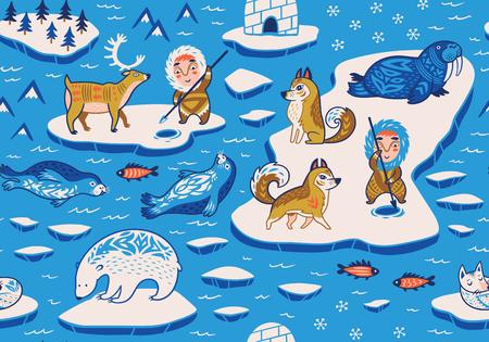 North Pole seamless pattern with wild animals, eskimos and yurt
