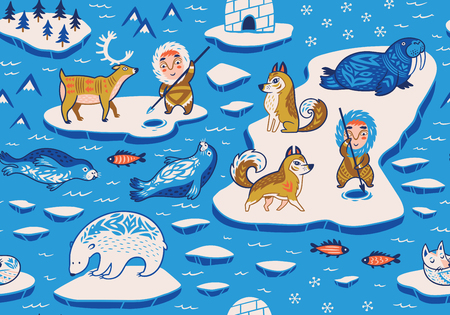 North Pole seamless pattern with wild animals, eskimos and yurt