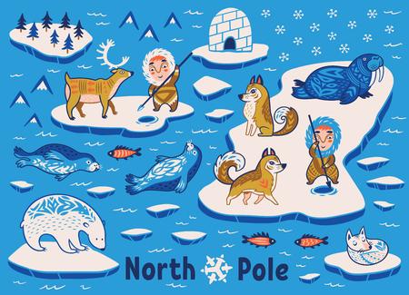 scribe: Vector collection of polar animals, eskimos and yurt