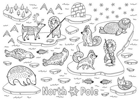 Outline North Pole animals, eskimos and yurt Illustration