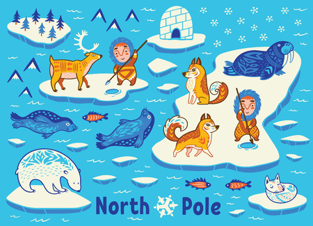 Vector collection of polar animals, eskimos and yurt
