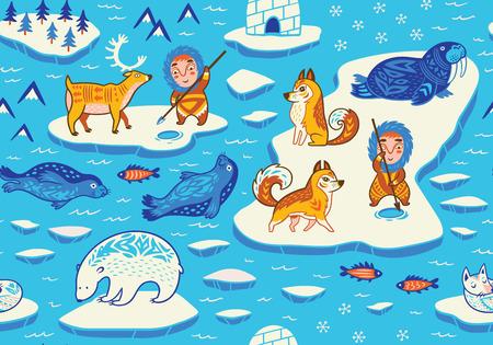 北極野生動物、エスキモー パオとシームレスなパターン 写真素材 - 75684237