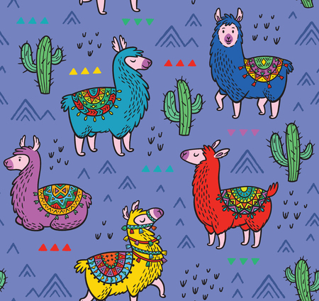Seamless pattern with alpaca and cactuses 일러스트