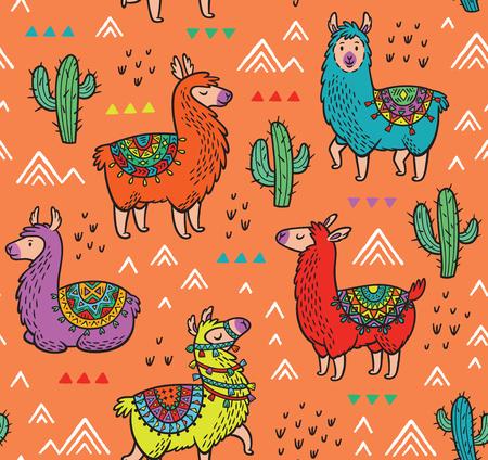 Naadloos patroon met alpaca en cactussen