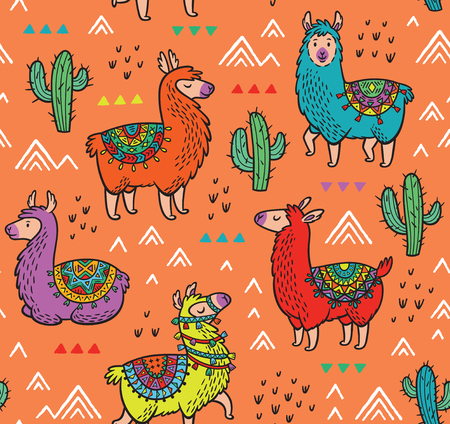 Seamless pattern with alpaca and cactuses Ilustracja