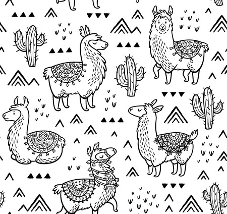 Contour seamless pattern with alpaca and cactuses. Coloring book page Çizim
