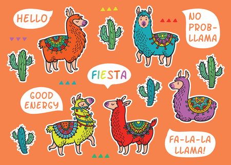 Decorative Llama Alpaca set. Colorful vector childish patches