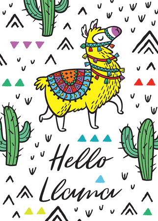 Hello llama. Print with alpaca and cactuses