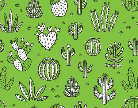 peyote: Succulent boho seamless pattern Illustration