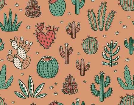 Succulent kleurrijk naadloos patroon. Hand getrokken vector achtergrond Stock Illustratie