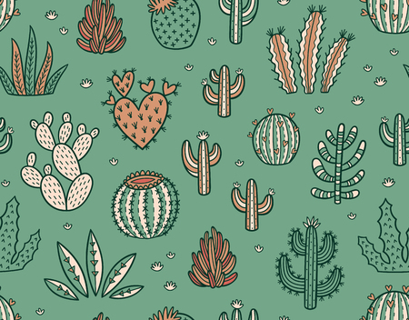 peyote: Succulent colorful seamless pattern. Hand drawn vector background