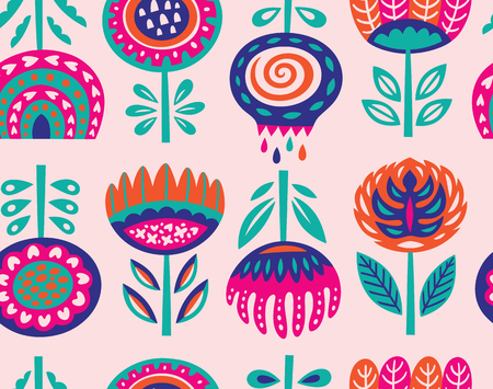Seamless pattern with scandinavian flowers