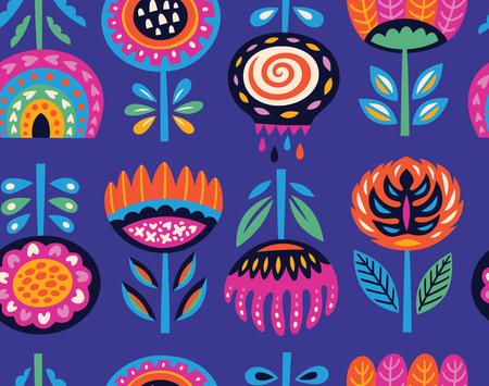 Flower art print in scandinavian style. Vector seamless pattern