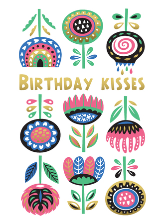 happy birtday: Scandinavian floral banner with birtday message. Swedish folk art