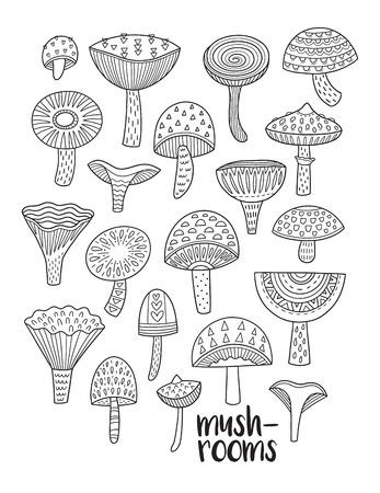 버섯 잉크 세트입니다. 색칠 공부 페이지