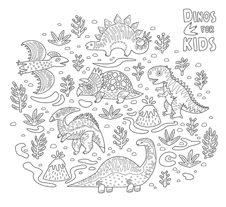 Cute dinosaurs in outline. Vector ink dinosaurs in childish style. Print for coloring page Illustration