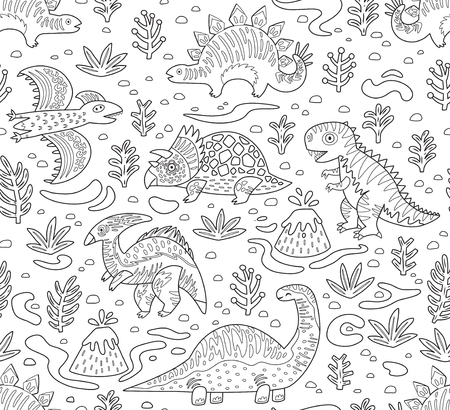 Cartoon dinosaurs seamless pattern in outline. Hand drawn vector illustration