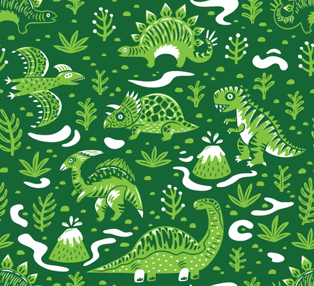 Dinosaurs seamless pattern in cartoon style. Prehistoric period. Vector illustration. The background is made in green colors. Ideal for wrapping paper, fabric textile design, banner, party invite, nursery and other.