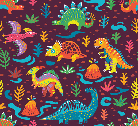Seamless pattern with cartoon dinosaurs Çizim