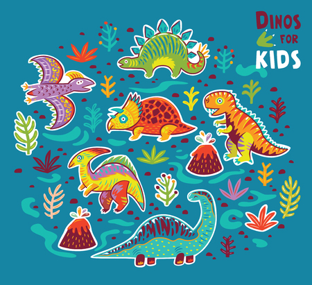 Vector cartoon sticker set of dinosaurs
