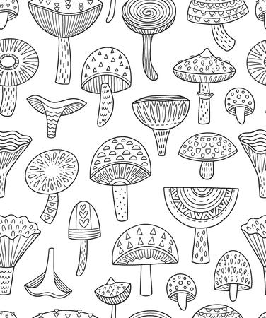 버섯 잉크 원활한 패턴입니다. 색칠 공부 페이지 일러스트