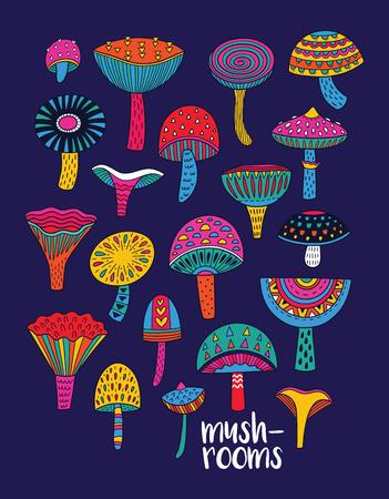 환각 색으로 설정된 버섯