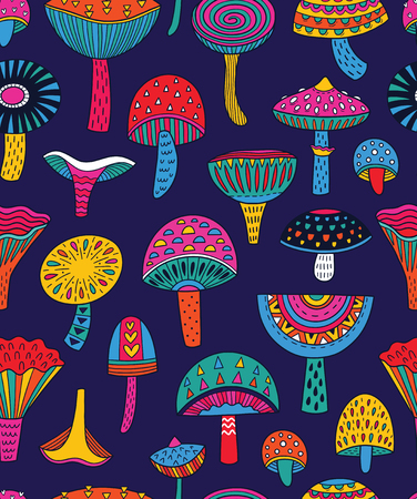Abstract mushrooms seamless pattern in hallucinogenic colors