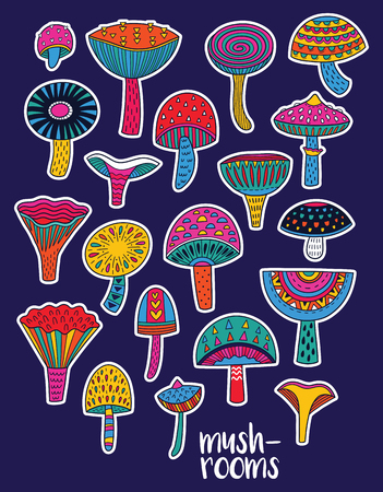 Mushrooms stickers set in hallucinogenic colors Ilustracja