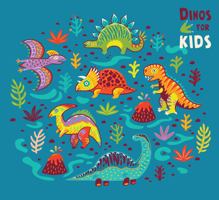 Set with a colorful dinosaurs. Vector illustration