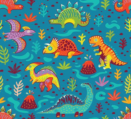 Dinosaurussen naadloze patroon in cartoon stijl. Prehistorische periode. Vector illustratie. De achtergrond is gemaakt in blauwe kleuren. Ideaal voor inpakpapier, stoffen textielontwerp, spandoeken, feestuitnodigingen, kinderkamers en andere. Stock Illustratie