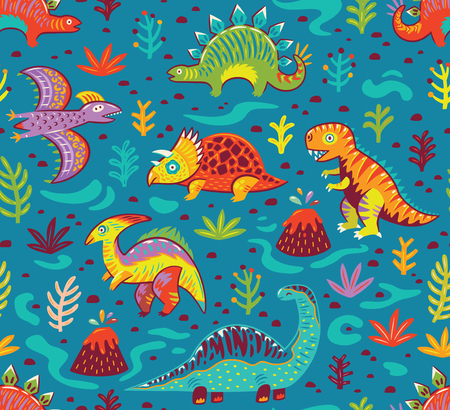 Dinosaurs seamless pattern in cartoon style. Prehistoric period. Vector illustration. The background is made in blue colors. Ideal for wrapping paper, fabric textile design, banner, party invite, nursery and other.