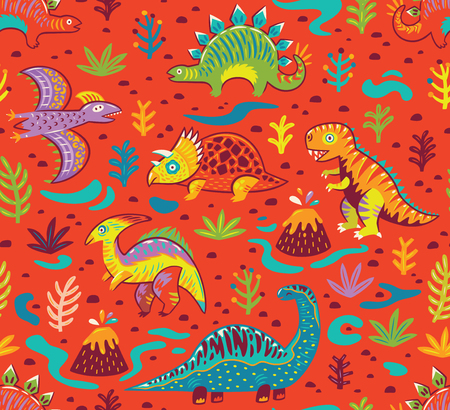 Dinosaurs seamless pattern in cartoon style. Prehistoric period. Vector illustration. The background is made in red colors. Ideal for wrapping paper, fabric textile design, banner, party invite, nursery and other. Illustration