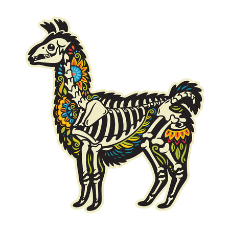 Sugar skull alpaca llama animal in vector style. Mexican day of the dead