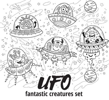 Fantastic creatures set in outline. Vector illustration for coloring book Stok Fotoğraf - 78956054