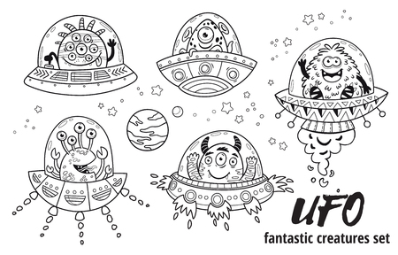 Fantastic creatures set in outline. Vector illustration for coloring book Ilustracja