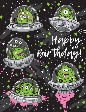 Happy birthday card with fantastic creatures monsters seamless pattern