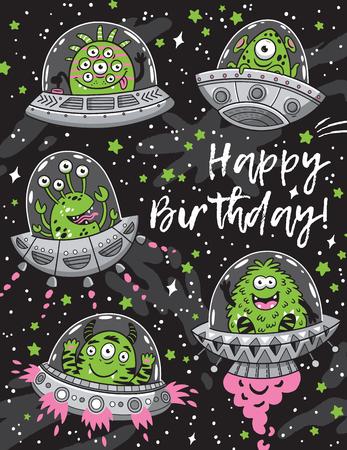 Zadowolony urodziny karty z fantastycznymi potworami potwory szwu Ilustracje wektorowe
