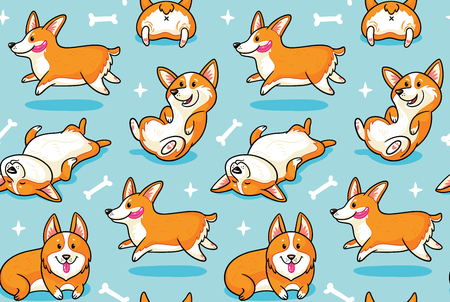 Seamless pattern of happy dogs