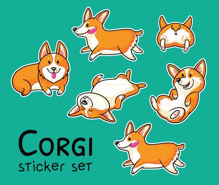 Corgi sticker set. Vector illustration