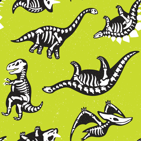 Funny sketchy fossil dinosaurs background. Cartoon fossil dinosaurs seamless pattern. Vector illustration.