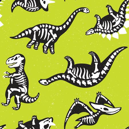 Grappige schetsmatige fossiele dinosaurussen achtergrond. Cartoon fossiele dinosaurussen naadloze patroon. Vector illustratie.