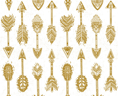 Seamless pattern with Gold Native American Navajo arrows in bohemian style. American indian motifs. Vector illustration.